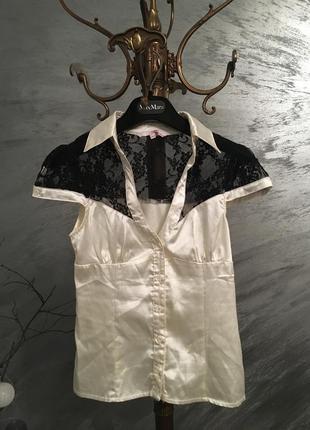 Блуза молочна з кружевом,блуза кружево tally weijl