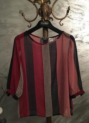 Ціну знижено!нова блуза цікавий принт,зроблено в франції,легка,блуза,рубашка