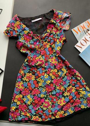 👗разноцветное платье с цветами zara/короткое платье в цветах/мини платье с декольте👗