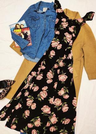 Платье длинное макси в пол чёрное в цветочный принт с открытой спиной atmosphere