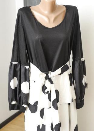 Платье большого размера, карнавальное черное в белый крупный горошек