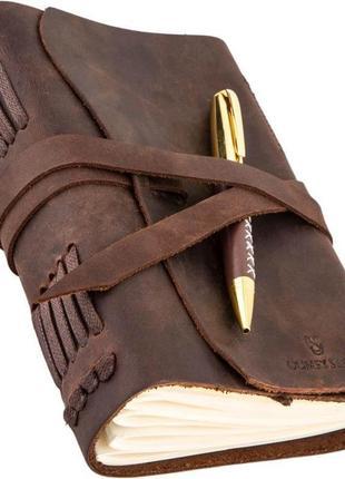 Кожаный блокнот с ручкой коричневый