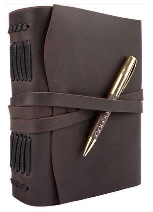 Кожаный блокнот с ручкой темно-коричневый