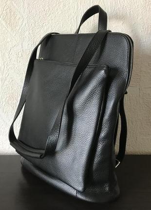 Сумка-рюкзак 29504 натуральная кожа /италия/ черный