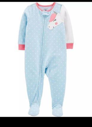 В наличие флисовая,теплая пижамка/слип/человечек с единорогом 🦄от carters 3t,оригинал!