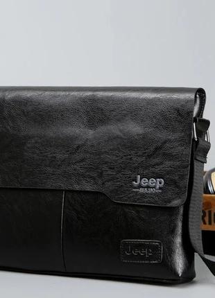Мужская кожаная новая модная черная стильная шкіряна чорна сумка барсетка jeep