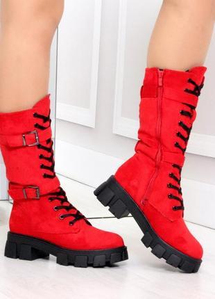 Ботинки зимние красные1 фото