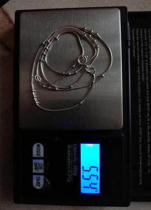 """Серебряная цепочка снейк  с шариками 51,5 см #серебро 925"""" лот 328"""