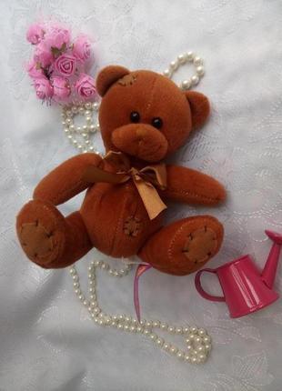 Мишка paws маленький мягкая игрушка медвежонок в заплатках с бантиком плюшевый