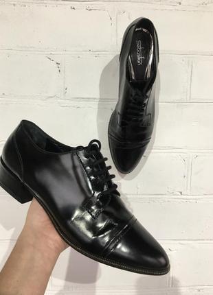 Чёрные кожаные туфли дерби sebastian veto cuoio