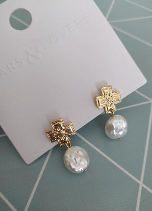 Сережки підвіски хрестики з перлиною, серьги гвоздики подвески с жемчугом asos