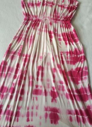 """Яркий длинный белый сарафан с розовым абстрактным принтом """"resort"""""""