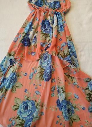 """Красивое каскадное платье (короткое спреди, длинное сзади) """"parisian"""""""