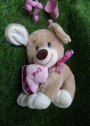 Собака с сердцем мягкая игрушка влюбленный песик собачка меховая
