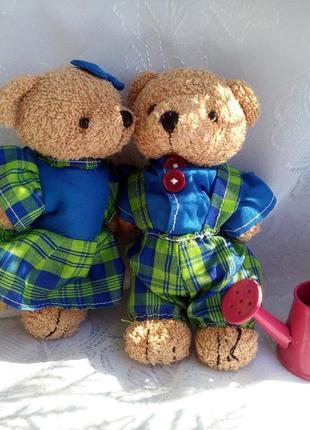 Мягкие игрушки влюбленная пара медведей мишки винтаж текстильные медвежата в одежде