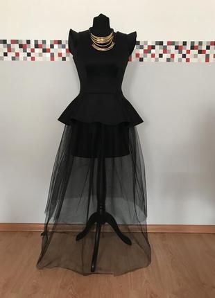 Молодежное вечернее длинное нарядное платье с фатиновой юбкой