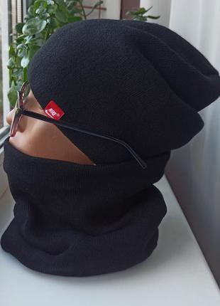 Новый комплект: шапка чулок и снуд (утеплены флисом) черный