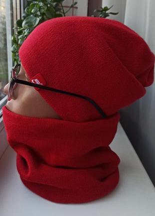 Новый комплект: шапка чулок и снуд (утеплены флисом) красный