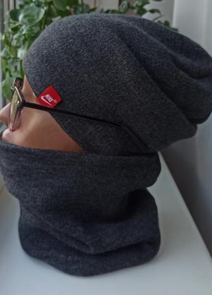 Новый комплект: шапка чулок и снуд (утеплены флисом) темно-серый