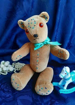 Медведь мишка ручная работа игрушка винтаж плюшевый с вышивкой эксклюзивный интерьерный