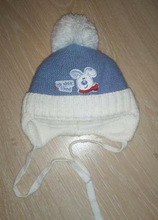 Зимняя шапка на мальчика 1 годик