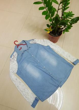 Рубашка джинсовая с кружевом