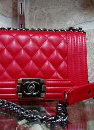 85184d14acf7 Сумка клатч сумочка в стиле chanel boy mini стеганая красная, цена ...