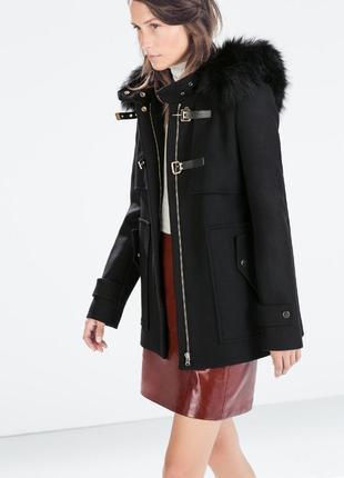 Теплое шерстяное черное пальто zara анорак