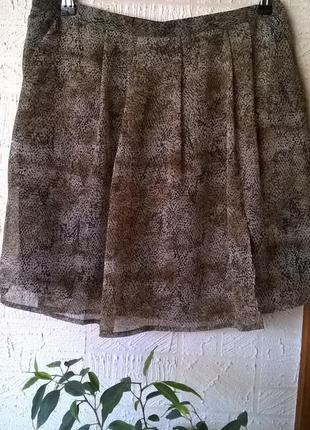 Летняя шифоновая юбка змеиный принт на запах mango