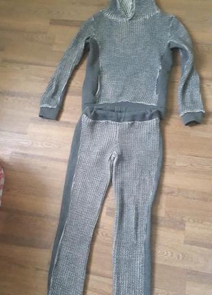 Теплющий вязаный костюм на флисе