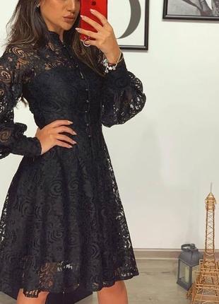Чёрное турецкое платье кружево на подкладке
