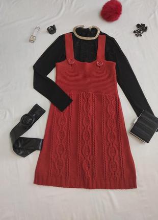 Стильный вязаный сарафан платье зимнее теплое