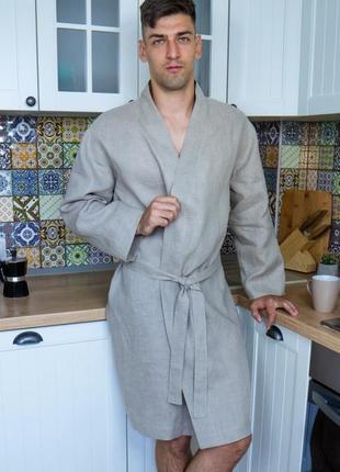 Чоловічий халат з натурального нефарбованого льону