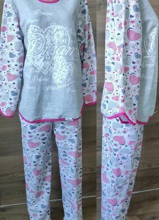 Пижама женская теплая с начесом большого размера