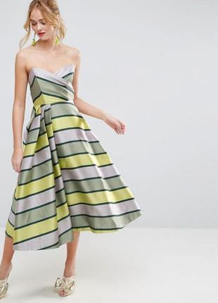 Asos асимметричное роскошное полосатое вечернее платье