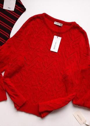 До - 60% на все!!! светр червоного кольору оверсайз натуральна stradivarius