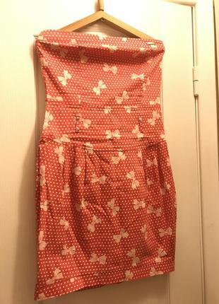 Милое красное платье в белый горошек с бантиками