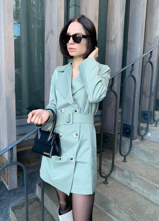 Платье пиджак мятное (оливковое) двубортное с длинным рукавом