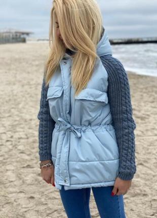 Курточка с вязаными рукавами зима!
