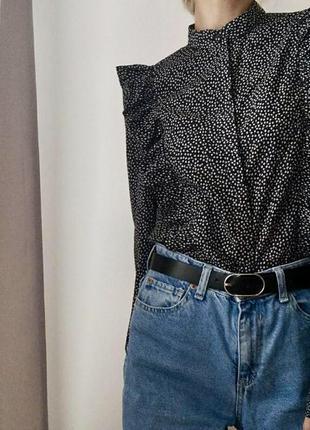 Хлопковая рубашка блузка с оборками h&m