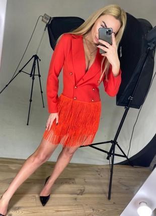 Платье-тренч с v-вырезом и бахромой платье-пиджак