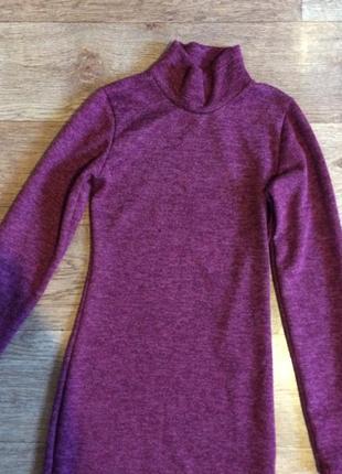 Тепле плаття із ангори бордового кольору