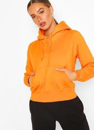 Boohoo.товар куплен в англии. оранжевое худи с начесом в стиле оверсайз.