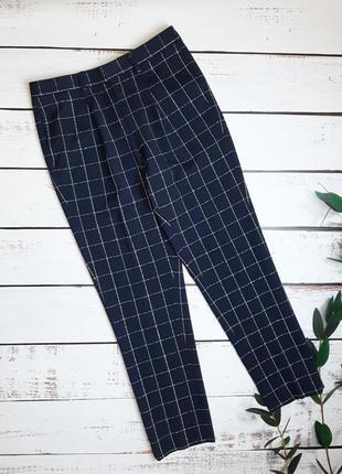 1+1=3 стильные темно-синие зауженные брюки в клетку noak, размер 46 - 48