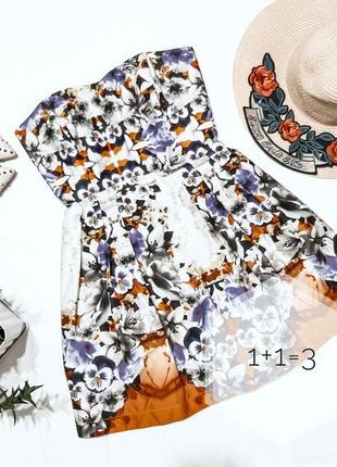 Asos стильное платье бюстье xs-s мини цветочный принт узор короткое хлопок