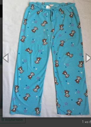 Теплые флисовые домашние или пижамные штаны жен m-l (46-48)
