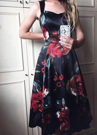 Красивое длинное черное вечернее атласное коктейльное платье цветочный узор asos