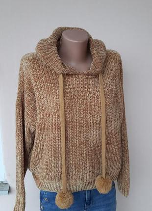 Молодежный мягкий свитер с капюшеном
