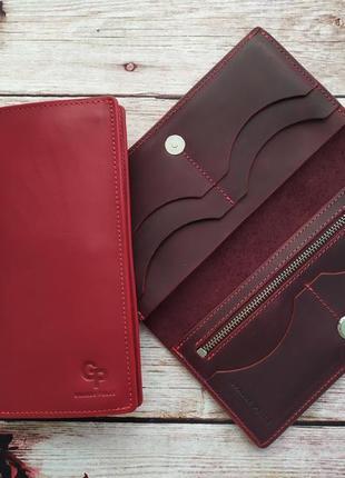 Шикарный бордовый кожаный кошелек на магните
