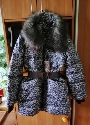 Пуховик пальто кокон одеяло milanova в черно белый принт